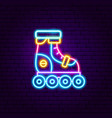 roller skating neon label vector image vector image