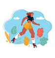 rollerskate woman on blue background vector image