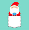 santa claus holding gift box funny face head vector image vector image