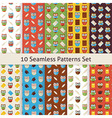 School and Education Owls Flat Seamless Patterns vector image vector image