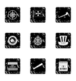 Search of mainland icons set grunge style vector image vector image