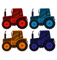 set four pictures tractor in different vector image vector image