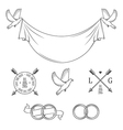 Set of vintage wedding invitation design elements vector image vector image