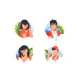 set vacation icons with avatars men and woman vector image vector image