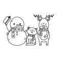 snowman cat and reindeer celebration merry vector image vector image