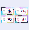 sports activity exercise characters doing yoga vector image