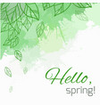 spring card with doodle leaves and green blobs vector image vector image