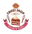Strawberry cake retro badge for pastry shop design vector image vector image
