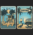surfing retro poster surf beach summer surfer vector image