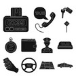 Taxi service black icons in set collection for
