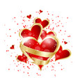valentines day abstract background with red heart vector image vector image