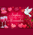 wedding save date roses flowers and hearts vector image vector image
