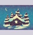winter card with snowy house and trees vector image