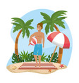 woman wearing bathing shorts with beach ball and vector image vector image