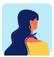 woman with dark long hair in yellow blouse vector image vector image