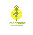 yoga and lemon logo concept vector image