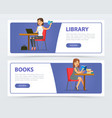 young women reading books and working with laptop vector image vector image