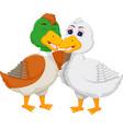 sweet geese couple cartoon embarce vector image