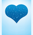 heart with fresh blue water drops vector image