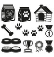 12 black and white pet care elements silhouette vector image vector image