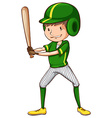 A baseball player in green uniform vector image vector image