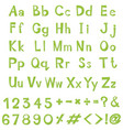 alphabet design in green color vector image