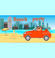 beach romantic date flat banner with lettering vector image