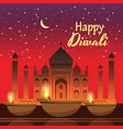 beautiful greeting card for holiday diwali with vector image vector image
