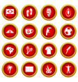 brazil travel symbols icon red circle set vector image vector image