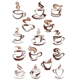 brown cups coffee cappuccino espresso latte or vector image