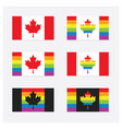 canada rainbow pride flags set icons with shadow vector image vector image