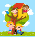 children playing in a tree house vector image vector image