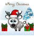 christmas card funny card with a christmas deer vector image vector image