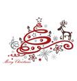 Christmas tree reindeer vector image vector image