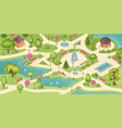 city park summer time trees grass lawn and ponds vector image vector image