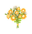 colorful fresh yellow bloomy flowers bouquet vector image vector image