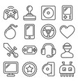 computer video game icons set on white background vector image vector image
