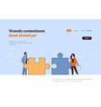 couple man woman putting parts of puzzle problem vector image vector image