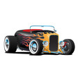 custom hot rod roadster car with flames vector image vector image