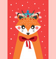 cute christmas card with a picture of a fox vector image vector image