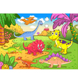 Cute dinosaurs in prehistoric scene vector | Price: 3 Credits (USD $3)