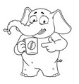 elephant character offers a cup of coffee vector image