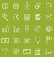 Finance line icons on green background vector image vector image