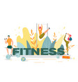 fitness people with dumbbell doing stretching vector image vector image