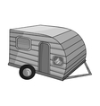 Green caravan icon in monochrome style isolated on vector image vector image