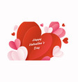 happy st valentines day card with 3d paper hearts