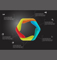 Hexagon infographic template created six curved