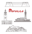 Historic buildings and sightseeings of Morocco vector image vector image