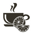 icon cup of hot tea with citrus flavor logo in vector image vector image