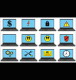 laptops with blue screen set with different symbol vector image vector image